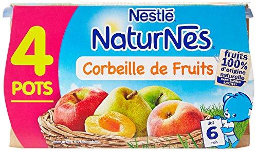 Nestlé Bébé Naturnes Corbeille de Fruits dès 6 mois 4 x 130g - Lot de 4