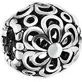 Forma de la bola Everbling recogiendo margaritas 925 de plata de ley para pulseras Pandora encanto europeo