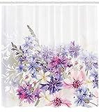 Abakuhaus Duschvorhang, Lavendel Rosa Lila Kornblumen Brautklassiker Leichte Blumenkunst Hochzeit Dekoration Druck, Blickdicht aus Stoff inkl. 12 Ringe für Das Badezimmer Waschbar, 175 X 200 cm