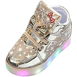 K-youth® Zapatos Unisex Niños LED Luz Luminosas Flash Zapatos Zapatillas de Deporte Zapatos de Bebé Antideslizante Zapatillas Unisex Niño Botas Niño (Tamaño: 24, Dorado)