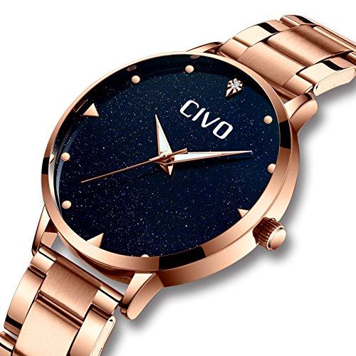 CIVO Damen Uhr Frauen Roségold Edelstahl Wasserdicht Armbanduhr Mädchen Jugendliche Elegant Mode Einfach Lässige Modish Analoge Uhren