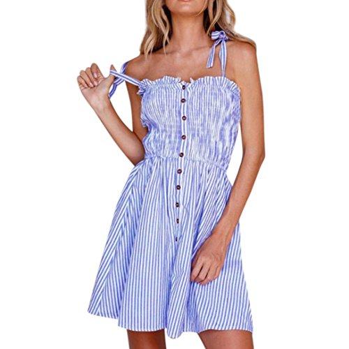 MCYs Sommer Damen Gestreifte Schulterfrei Bowknot Krawatte Ärmellos Knopf String Kleid A-Linie Strandkleid Partykleid Minikleid (M) - Lange Lace Trim Kleid Blau