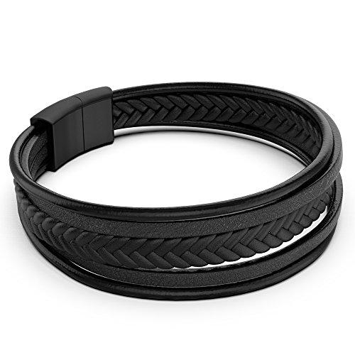 Armband Herren Männer Leder Edelstahl – anbina Armband geflochten mit Magnetverschluss und Adapter Unisex in schwarz