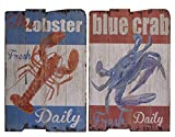 Wandbild aus Holz - Holzbild im Shabby-Look Landhaus-Stil Vintage, 2er Set, je ca. 40 x 60 cm Motive Lobster und Krabbe