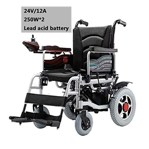 """Silla de ruedas eléctrica: acero al carbono, plegable, asiento de 18 """", carga de 120 kg, controlador a prueba de agua, modo eléctrico manual, evitar el vertido, personas mayores discapacitadas"""