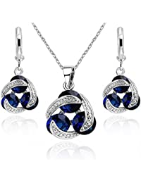 Ensemble collier et boucles d oreille 18 carats plaqué or blanc avec  cristaux autrichiens bleu cdf1154c91e3
