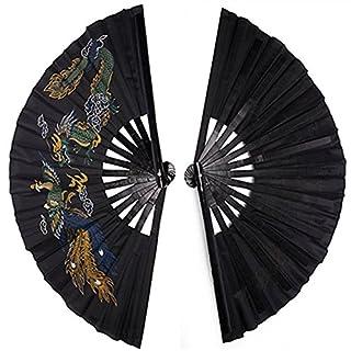 Martial Art Tai Chi Kung Fu Fighting Fan, Bamboo Frame, Black, Chinese Phoenix and Dragon