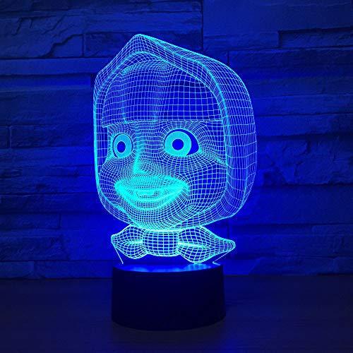 Qliyt Nachtbeleuchtung Usb 3D Visual 7 Farben Comic-Figuren Kopf Modellierung Led Nachtlicht Touch-Taste Schreibtischlampe Raumdekor Geschenke - Fernbedienung Und Touch