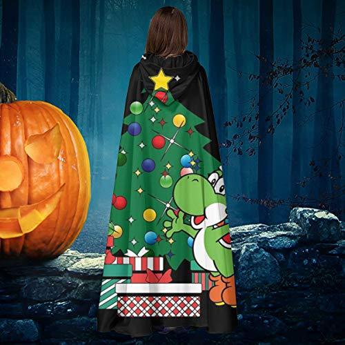 AISFGBJ Yoshi Around The Christmas Tree Mario Unisex Weihnachten Halloween Hexe Ritter Kapuzenmantel Vampir Umhang Umhang Cosplay (Yoshi Kostüm Hunde)