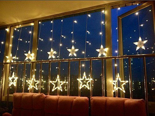 i-mesh-bean iMeshbean® Warm White 12 Twinkling Stars Fairy String Lights Wedding Decoration Window Display 48LED