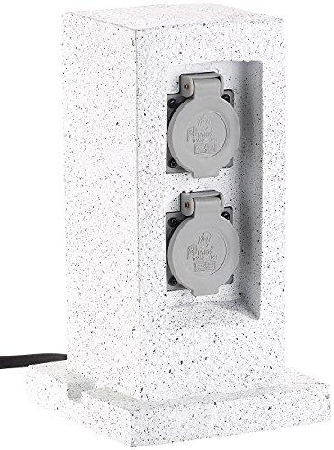 Royal Gardineer Gartensteckdose Stein: 2-fach-Garten-Steckdose in Stein-Optik, mit Zeitschaltuhr, IP44 (Außensteckdose Stein)