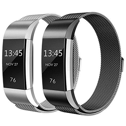 Sun studio Correa Fitbit Charge 2, Milanese Loop de Acero Inoxidable Reemplazo Wristband Pulsera Fitbit Charge 2 con Cerradura Imán para Fitbit Charge 2 (Negro + Plata, 5.5'-8.5')