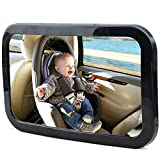 Rücksitzspiegel, Babyspiegel für Autositz Einstellbar Babyschalenspiegel Sicherheitsspiegel für Baby Kinderbeobachtung schwarz (30*19cm)