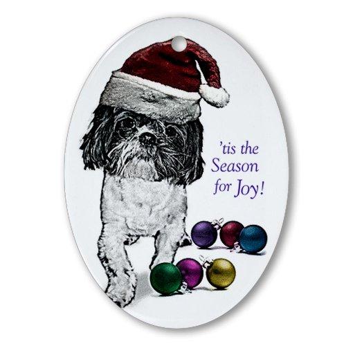 CafePress-Shih Tzu Natale ovale, vacanza decorazione natalizia