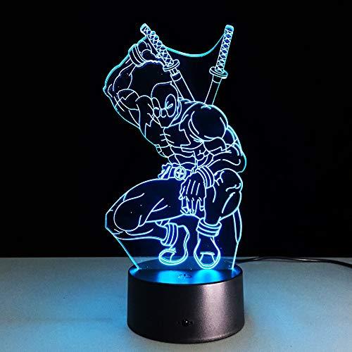 Schildkröte Der Hase Und Kostüm - 7 farbwechsel hero deadpool 3d licht led nachtlicht usb touch led dekorative led tischlampe bunte schreibtischbeleuchtung han-7343