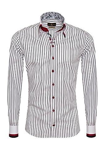 Giorgio Capone Herrenhemd, 100% Baumwolle, weiß-schwarz gestreift, Doppelkragen mit drei Stoffen, Langarm, Slim & Regular Fit (XL Reg mit (Easy Care Leinenhemd)