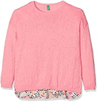 United Colors of Benetton Girl's Sweater L/S Jumper, Multicoloured (Pink), 6-7 Years (Manufacturer Size:Small)