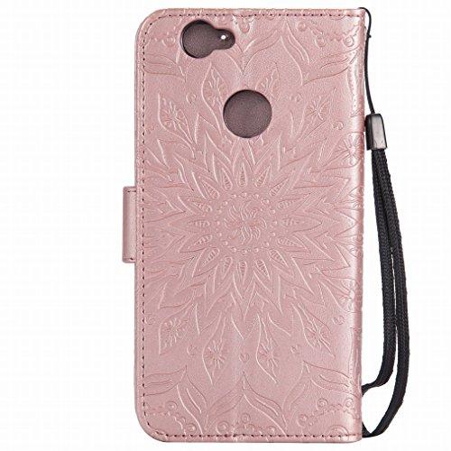LEMORRY Huawei nova Custodia Pelle Cuoio Flip Portafoglio Borsa Sottile Bumper Protettivo Magnetico Morbido Silicone TPU Cover Custodia per Huawei nova, Fiorire Oro Rosa Oro rosa