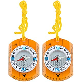 AceCamp Map Compass with Ruler, Compass Ideal for Scout Pocket Survival Navigation, Backpacking, Hiking, 3110, Doppelpack