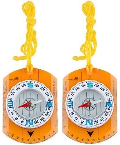 2 x AceCamp Kartenkompass mit Lineal, Taschen-Kompass ideal für Pfadfinder, Survival, Navigation, Backpacking, Trekking, Doppelpack 3110