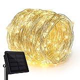 Rophie guirlande lumineuse solaire 20m,200 guirlande lumineuse LED Fil de Cuivre Lampe Étanche de Décoration Extérieur et Intérieur pour Maison, Extérieur, Jardin, Terrasse, Mariage et Fête de Noël