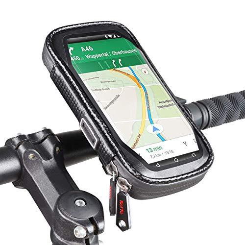 ROTTO Handyhalterung Fahrrad Handyhalter Handytasche Wasserdicht Anti-Shake 360°Drehung (Schwarz, XL)