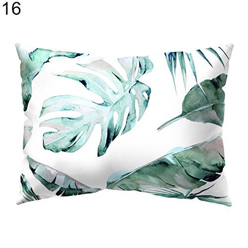 pengyu Rechteckiger Kissenbezug mit tropischen grünen Blättern für Zuhause, Büro, Wohnzimmer, Sofa, Auto, Deko, Polyester, 16#, Einheitsgröße