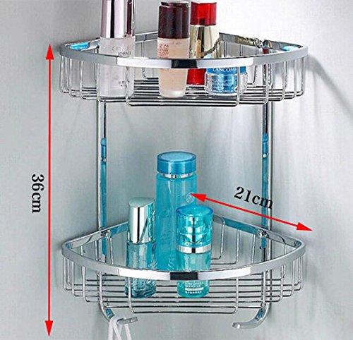 QUEEN'S 304 Stainless Steel Racks Thickened Double Shower Corner Shelves Bathroom Corner Basket