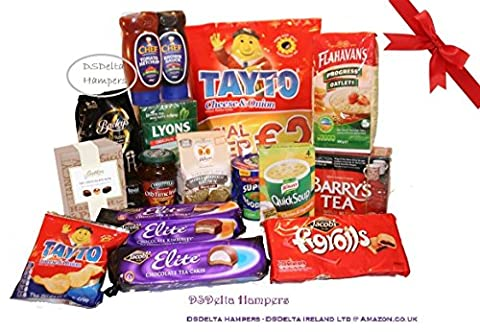 Large Irish Family Food Hamper by DSDelta Hampers- Lyons Original Tea 80 bags, Bewley's Gold Roast Coffee, Barry's Gold Blend Tea, Flanagan's Porridge Oats, Old time marmalade, Butlers Chocolates, Jacobs Elite Chocolate Kimberly Biscuits, Jacobs Elite Chocolate Tea Cakes, Jacobs Figrolls, Tayto Cheese & Onion Crisps, Chef Ketchup Top Down, Chef Brown sauce Top Down, Knorr Quick Soup, McDonald Noodles AND Odlums Brown Bread Mix- Irish Favourites from DSDelta Hampers.