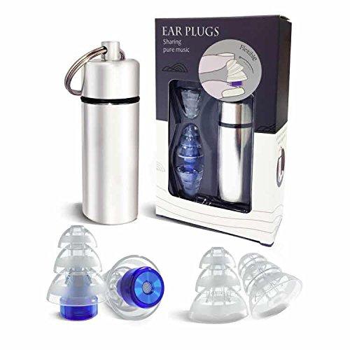 MZHOU Gehörschutzstöpsel, Musik Ohrstöpsel, Schlaf Ohrstöpsel, High-Fidelity-Rauschunterdrückung, Hergestellt aus wiederverwendbarem Silikon, mit Alubehälter, blau/transparent -