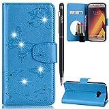 Galaxy A3 2017 Handyhülle,Galaxy A3 2017 Hülle,WIWJ PU Cover Case Leder[Diamant Schmetterling Blume Ledertasche Mit Spiegel]Hülle für Samsung Galaxy A3 2017-Blau