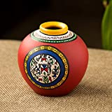 ExclusiveLane 6 Inch Terracotta Handpainted Warli Matki Shaped Decorative Vase