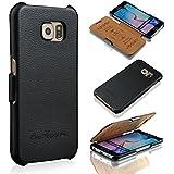 Ledertasche für Samsung Galaxy S6 - ***ECHT LEDER - HANDGEFERTIGT*** - Hülle Case Etui Flip Case Schutzhülle - SCHWARZ - CoinKeeper