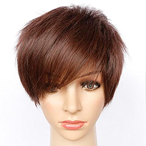 Fashion Short Straight Fluffy Wig With Side Bangs Brown Natural comme vrais cheveux High Temperature Fiber Cheveux synthétiques pour les femmes