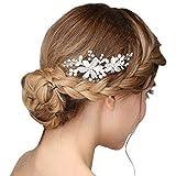 Fermaglio a pettine per capelli, realizzato a mano, accessorio nuziale in stile floreale, colore: argento con perle color panna