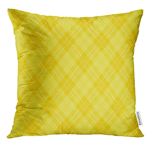 Throw Pillow Cover Check of Yellow Argyle Plaid Tartan Decorative Pillow Case Home Decor Square 18x18 Inches Pillowcase Plaid Salt