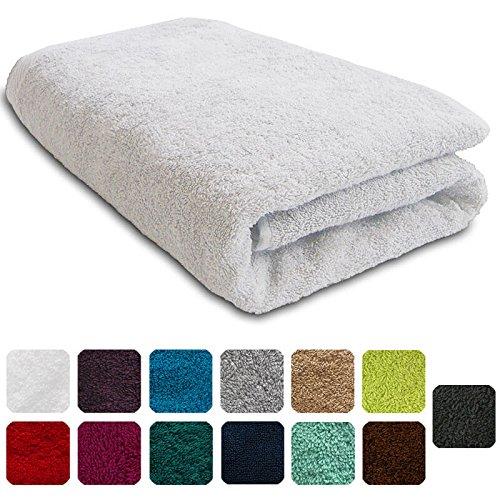 Lanudo® Luxus Duschtuch 600g/m² Pure Line 70x140 mit Bordüre. 100% feinste Frottier Baumwolle in höchster Qualität, Dusch-Handtuch, Badetuch, Badelaken. Farbe: Weiß (Weiße Badelaken)