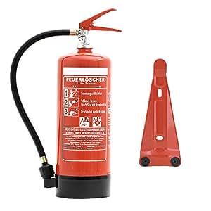 Feuerlöscher 6 Liter Schaum   Brandklasse A und B   mit Halterung   Manometer   Prüfnachweis & gratis ANDRIS® Feuerlöscher Symbolschild Folie