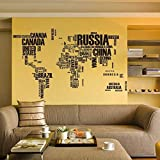 StylishWalls World Map Wall Sticker I Monochrome World Trip Map I Business Style Map Of The World I Black And White For Office, Kids Room, Living Room, Hotel, Restaurant & Cafe I Vinyl, 190 Cm X 116 Cm