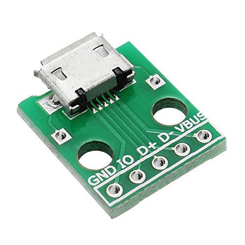 LaDicha 5 Stücke Micro USB Dip Buchse B Typ Mikrofon 5 P Patch Zu Tauchen 2,54Mm Pin Mit Löten Adapterplatine