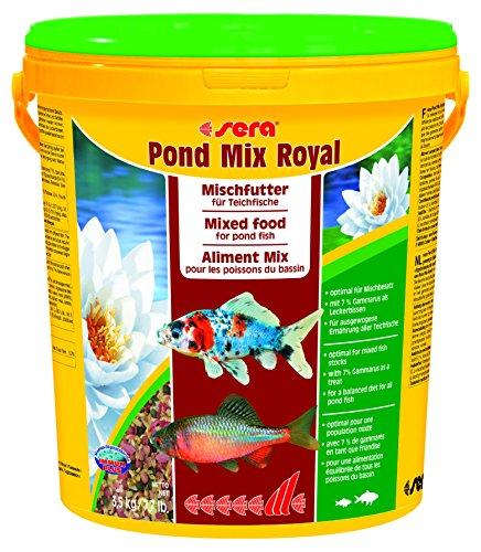 Sera 07108 pond mix royal 21 l - Futtermischung aus Flocken, Sticks und mit 7% Gammarus als Leckerbissen für alle Teichfische (Fisch-mix)