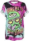 Ocean Plus Unisex 3D Stampa T-Shirt Graffiti Alien Maglietta Sportiva con Bottoni Pazzo Follia Allentata Loose Fit Camicie a Maniche Corte (XXL/3XL (Torace: 106-126cm), 007 Take Me to Your Leader)