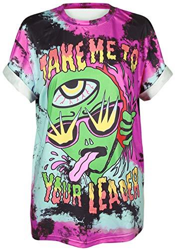 Ocean Plus Unisex 3D Druck Graffiti Alien T-Shirt Loose Fit Wild Verrückt Wahnsinn Tee Shirt Tops (L/XL, 007 Take Me to Your Leader)