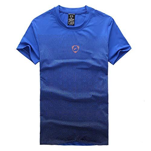 Zackate Herren Outdoor-T-Shirt mit Farbverlauf schnell trocknend, kurzärmlig, Dri-Fit für Laufen, Angeln, Wandern - Blau - X-Groß -