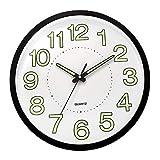 ufengke Horloge Murale Lumineuse Noir Horloge Quartz Deco Fluorescente pour Salon Chambre, Diamètre 30cm