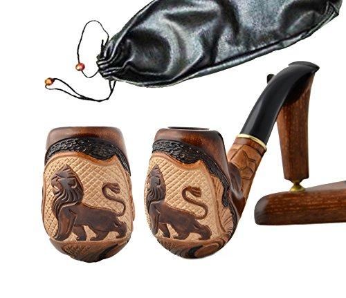 La pipa fatta del pero di alta qualita, lavorazione a mano 'Leone VI' + la borsa da tabacco