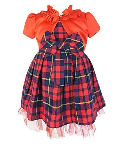SIRRI Baby Mädchen Tartan Weihnachtsfest Kleid Rot und Marine mit Bolero Alter 0-3 Monate
