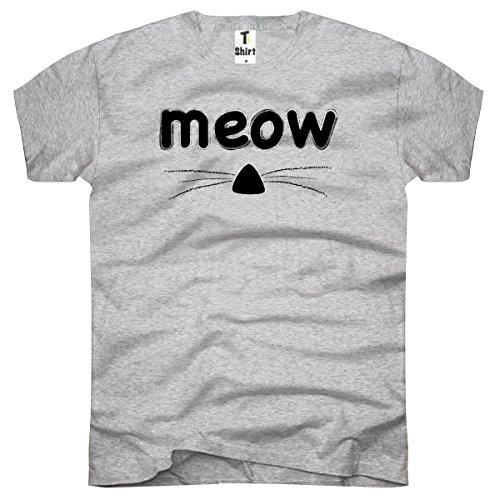 Tea-camicia, Men T-shirt Cat Meow Grigio