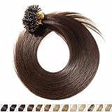 S-noilite® Extensiones de queratina de pelo natural - 40CM - 100 mechas (0.5g/mecha) - Pre bonded Nail Tip U-tip Remy Hair Extensions - #02 Marron oscuro