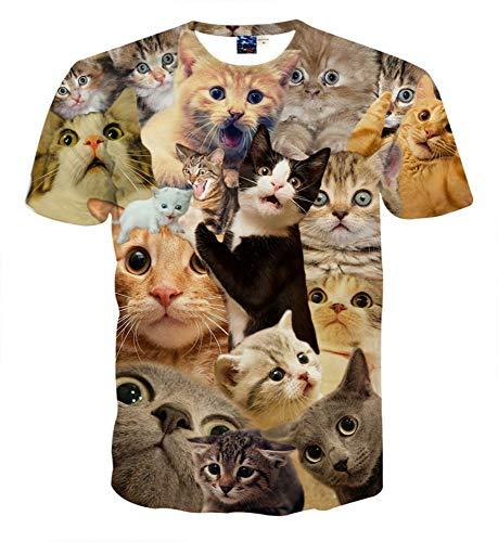 XIAOBAOZITXU T-Shirt 3D-Digitaldruck Kurze Ärmel Unisex-Paar-Kostüm Cartoon-Katze Schwarz Coole Lustige Lose Sportmode Großes T-Shirt XL (Paar Kostüme Cartoon)